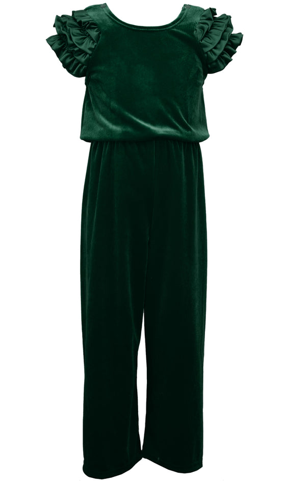 Emerald Velvet Ruffled Jumpsuit