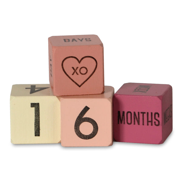 baby age blocks pink - set of 4