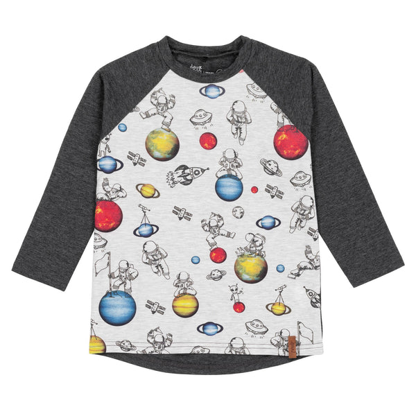 PRINTED SPACE RAGLAN LONG SLEEVE T-SHIRT, BOY