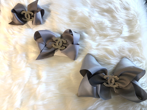 Grey Bow with CC Stone Bling