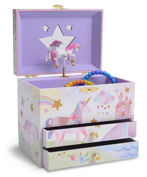 Rainbow Glitter Unicorn Musical Jewelry Box w/ Drawers