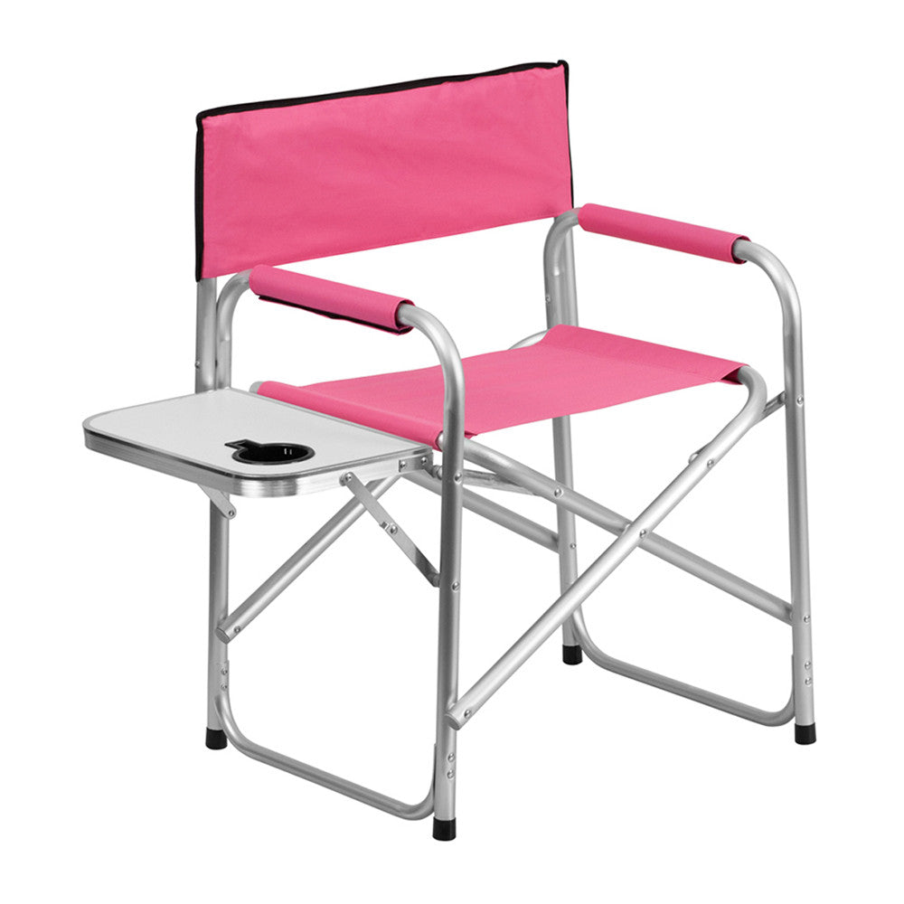 Terrific Flash Furniture Aluminum Folding Camping Chair With Table And Drink Holder In Pink Machost Co Dining Chair Design Ideas Machostcouk