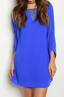 Lapis Blue Chiffon Dress