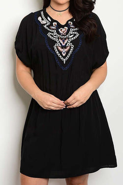 Curves Little Black Embroidery Dress