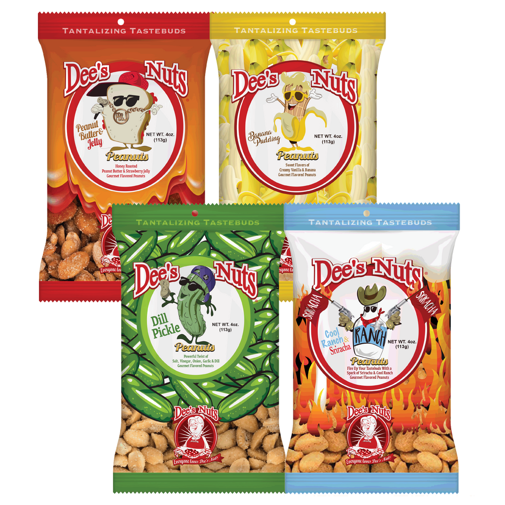 Dee's Nut Sampler pack, 4 Bag of our BEST selling Nuts