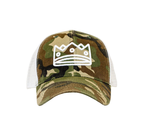 Trucker Camo+White/White Crown
