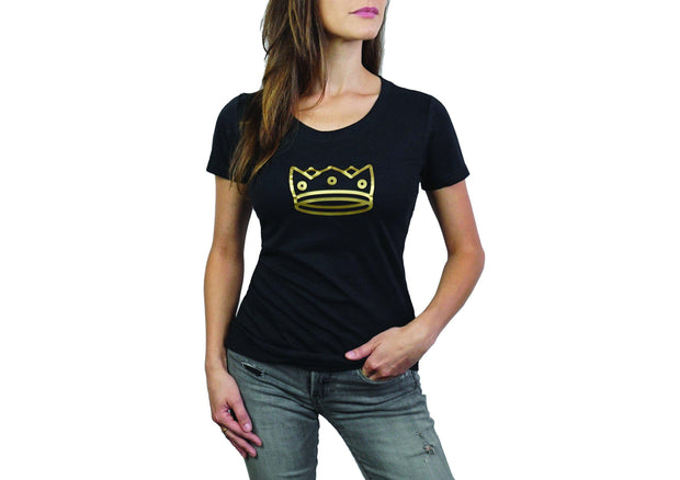 Women's Triblend crew neck Black Heather/Gold Crown