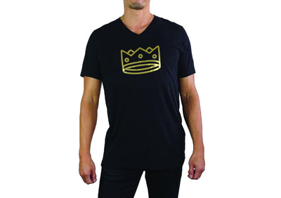 Men's Triblend V Neck Black Heather/Gold Crown