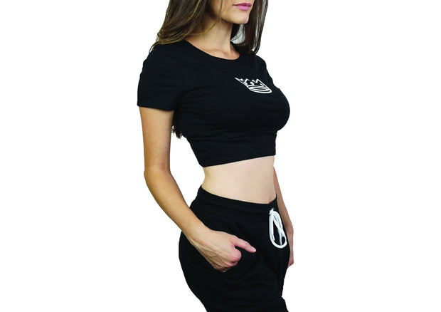 Women's Crop Top Black/White Crown