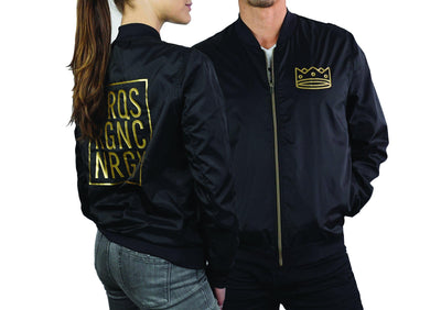 Unisex Bomber Black/Gold Crown