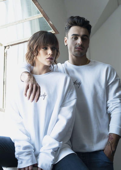 Thirsty unisex white sweatshirt