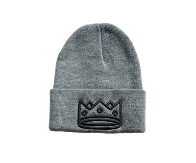 Beanie Heather Grey/Black Crown