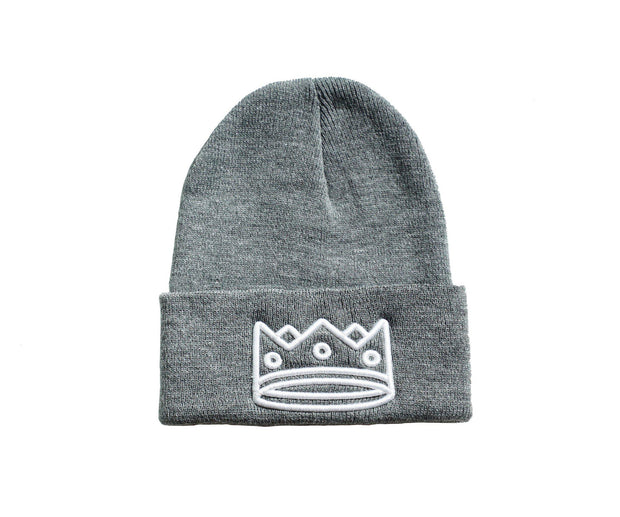 Beanie Heather Grey/White Crown