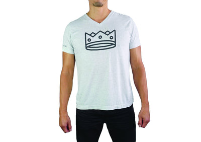 Men's Triblend V Neck White Fleck/Black Crown