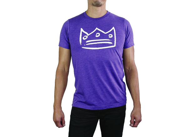 Men's Triblend Crew Neck Purple/White Crown