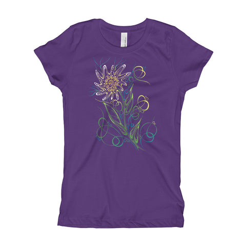 Uncharted Ink Girl's Purple Tee in Daisy Gone Wild