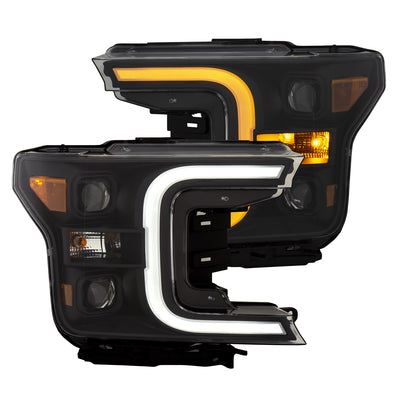 Anzo | 111398 | Plank Style Switchback Projector Headlights Black Amber | Ford F150 2018+