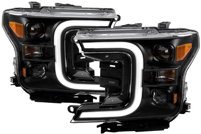 Anzo | 111400 | Plank Style Switchback LED Projector Headlights Black Amber | Ford F150 2018+