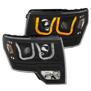 ANZO | 111383 | 2009-2014 Ford F-150 Projector Headlights w- U-Bar Switchback Black w- Amber