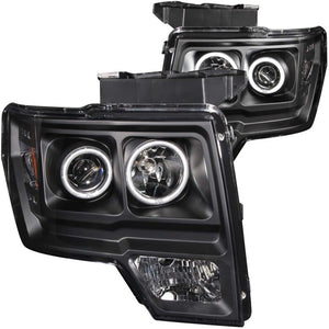 ANZO | 111161 | 2009-2014 Ford F-150 Projector Headlights w- Halo Black (CCFL)