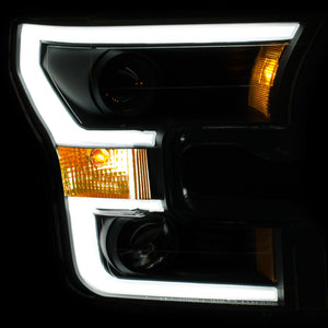 ANZO | 111357 | Projector Headlights w- Plank Style Switchback Black w- Amber | 2015-2017 Ford F-150