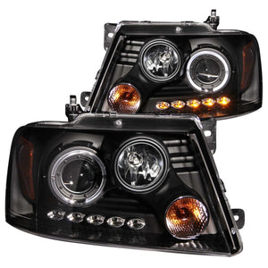 ANZO | 111028 | 2004-2008 Ford F-150 Projector Headlights w- Halo and LED Black