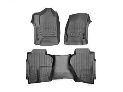 WeatherTech | 446071-445423 | Front and Rear Laser Measured Floor Mats Fits 2014-2017 Chevy Silverado 1500  Double Cab With Non Flow Through Console