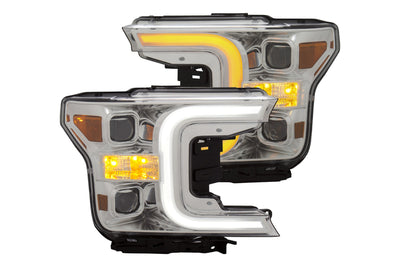 Anzo | 111401 | Plank Style Switchback LED Projector Headlights Chrome | Ford F150 2018+