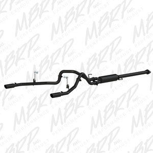 "MBRP | S5255BLK | 2.5"" Black finish cat back rear duals w/tips 