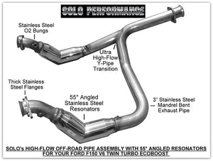 Solo Performance | 11-14LessDP | Offroad High Flow Catless Down Pipe Assembly Fits 2011-2014 Ford F150 3.5L EcoBoost