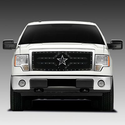 RBP RX-2 Series Studded Frame 1pc. Grille 09-14 Ford F-150 (Except Harley Edition) - Black