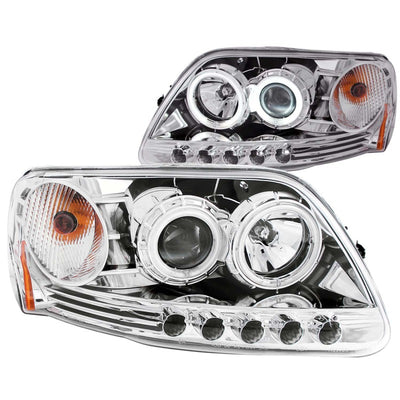 ANZO | 111054 | 1997.5-2003 Ford F-150 Projector Headlights w- Halo Chrome 1pc