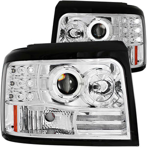 ANZO | 111183 | 1992-1996 Ford F-150 Projector Headlights w- Halo Chrome w- Side Markers and Parking Lights