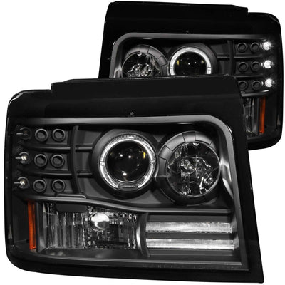ANZO | 111184 | 1992-1996 Ford F-150 Projector Headlights w- Halo Black w- Side Markers and Parking Lights