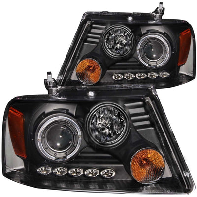 ANZO | 111204 | 2004-2008 Ford F-150 Projector Headlights w- Halo and LED Black G2