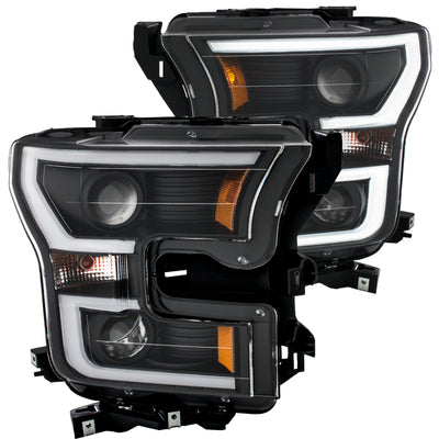 ANZO | 111347 | 2015-2016 Ford F-150 Projector Headlights w- Plank Style Design Black w- Amber