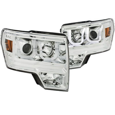 ANZO | 111352 | 2009-2014 Ford F-150 Projector Headlights w- U-Bar Chrome Amber (HID TYPE) (WITHOUT HID KIT)