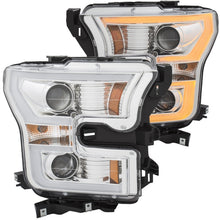 ANZO 2015-2016 Ford F-150 Projector Headlights w- Plank Style Switchback Chrome w- Amber