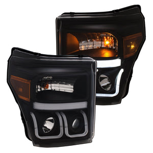 ANZO | 111386 | 11-16 Ford F-150 Super Duty Projector Headlights w- U-Bar Switchback Black w- Amber