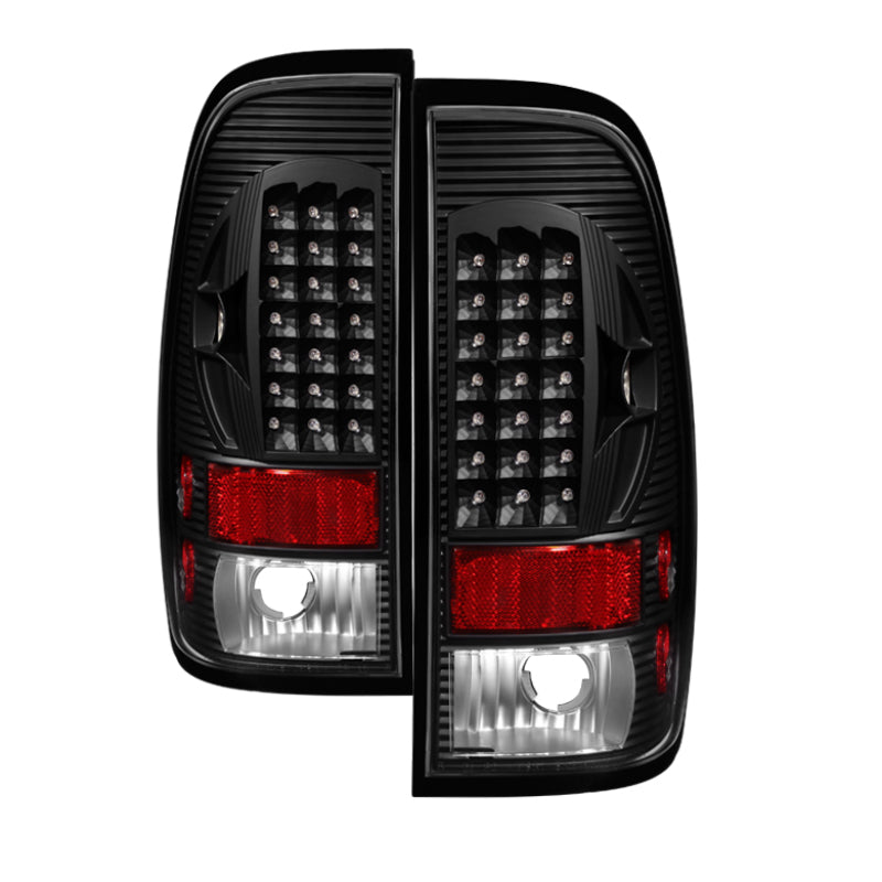 Xtune Ford F150 Styleside 97-03 - F250-350-450-550 99-07 LED Tail Lights Black ALT-ON-FF15097-LED-BK