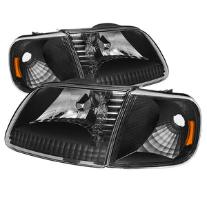 Xtune | 5070319 | Ford F150 97-03 - Expedition 97-02 Crystal Headlights w-Corner Black HD-JH-FF15097-SET-AM-BK