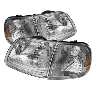 Xtune | 5070326 | Ford F150 97-03 - Expedition 97-02 Crystal Headlights w-Corner Chrome HD-JH-FF15097-SET-AM-C