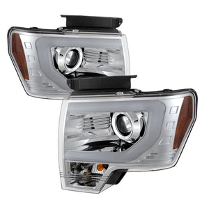 Spyder | 5077585 | Ford F150 09-14 Projector Headlights Halogen Model- Light Bar DRL Chrm PRO-YD-FF15009-LBDRL-C