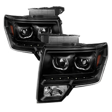 Xtune | 9032226 | Ford F150 09-14 Projector Headlights Halogen Model Only LED Halo Black PRO-JH-FF15009-CFB-BK