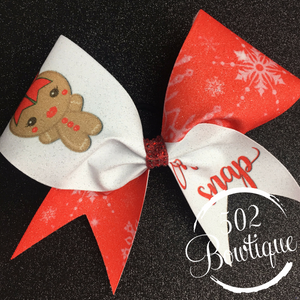 oh snap gingerbread christmas cheer bow