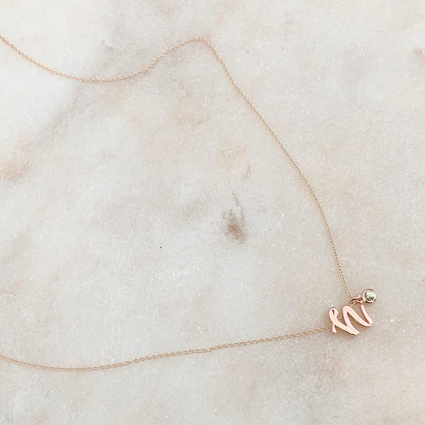 Mini Love Letter necklace with dangly bezel birthstone (Rose Gold)