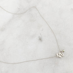 Mini Love Letter necklace with dangly bezel birthstone (White Gold)