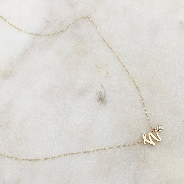 Mini Love Letter Necklace with Dangly Bezel Birthstone (Yellow Gold)