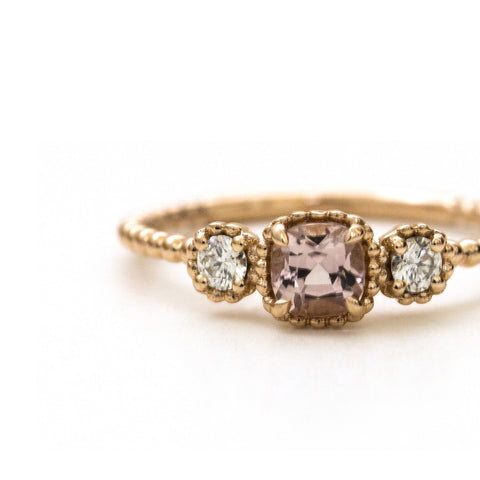 Champagne pink tourmaline and diamond Bloom ring