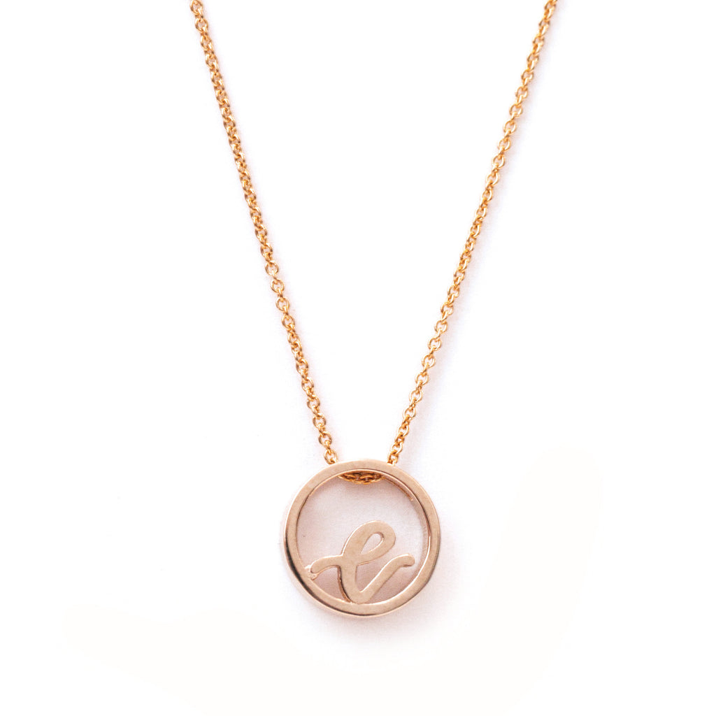 Love Letter disc necklace (Rose Gold)